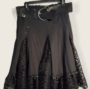 TRICOTTO woman  skirt with lace and belt